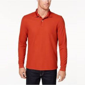 Club Room Men's Orange Long-Sleeve Polo